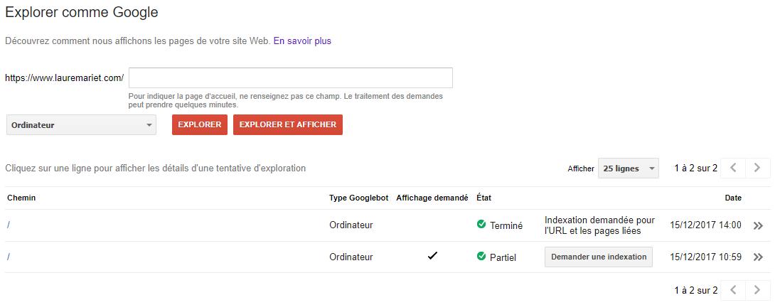 Demande d'indexation depuis la Google Search Console