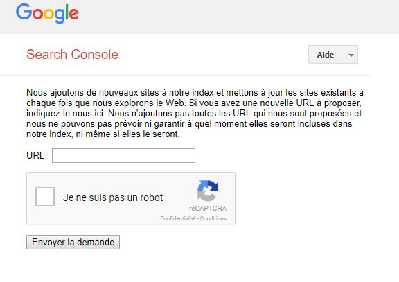 Page pour soumettre une URL à Google pour indexation