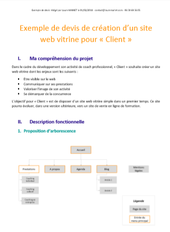 Exemple de devis de site web WordPress