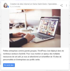 Exemple de posts sur Google My Business, très utile pour le référencement local