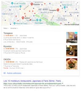Les résultats Google Maps sont affichés avant les résultats web classiques