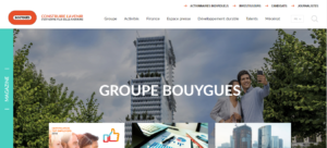 Exemple site web Groupe Bouygues